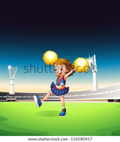 Illustration of a pretty young cheerleader at the field - stock photo