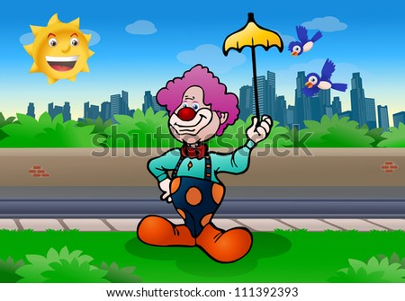 illustration of a purple hair funny clown holding yellow umbrella on city background - stock photo