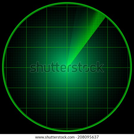 Illustration of a radar screen on a dark background - stock photo