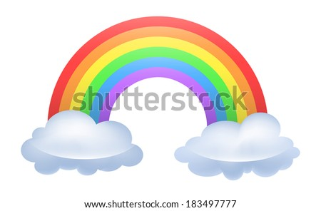 Illustration of a rainbow arced between two clouds. Raster. - stock photo