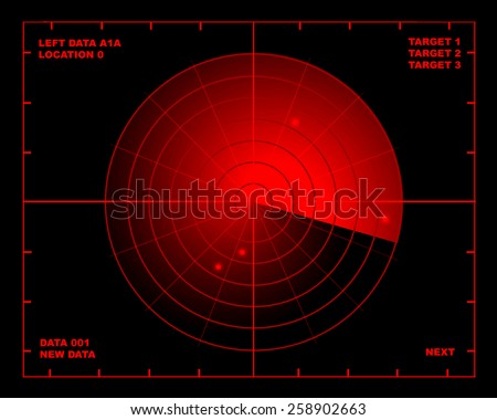 Illustration of a red and black radar screen - stock photo