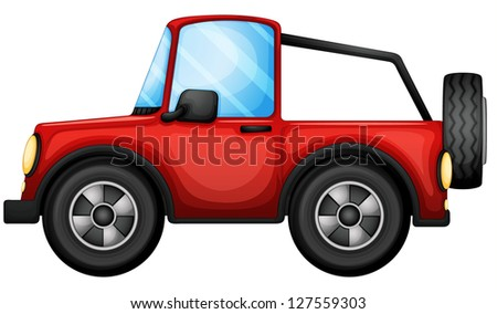 Illustration of a red car on a white background - stock photo