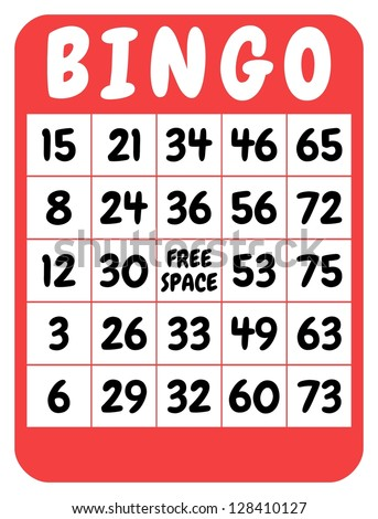 Illustration of a red isolated bingo card - stock photo