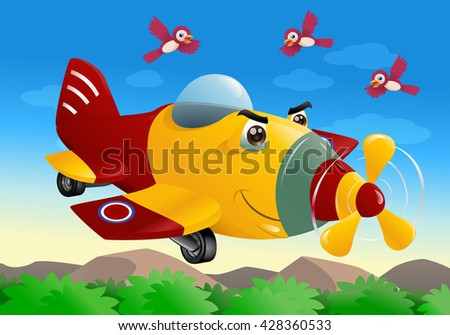 illustration of a red- yellow commercial plane flying on sky background - stock photo