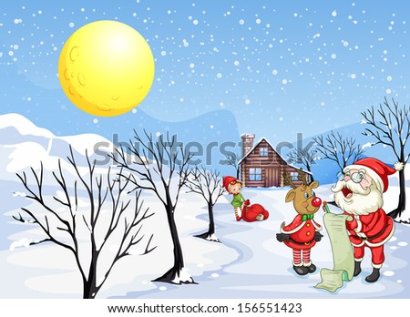 Illustration of a reindeer beside Santa Claus with his list - stock photo