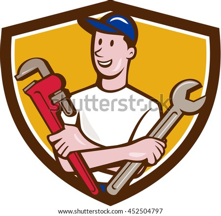 Illustration of a repairman handyman worker wearing hat holding spanner and monkey wrench looking to the side viewed from front set inside shield crest done in cartoon style.  - stock photo