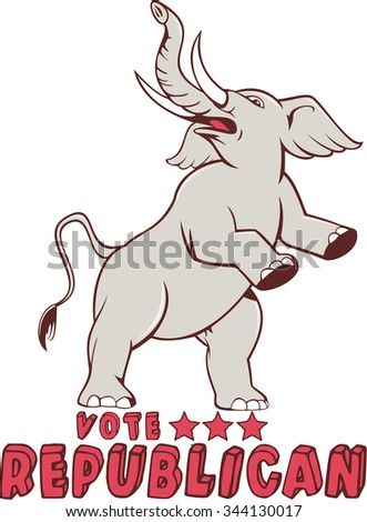 Illustration of a republican elephant mascot of the republican party prancing looking up to the side set on isolated white background done in cartoon style with words Vote Republican. - stock photo