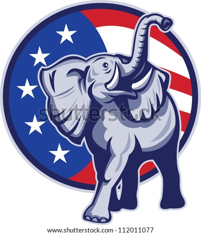 Illustration of a republican elephant mascot with American USA stars and stripes flag circle done in retro style. - stock photo