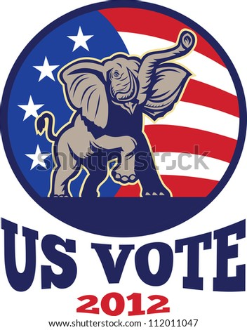 Illustration of a republican elephant mascot with American USA stars and stripes flag done in retro style with words us vote 2012 - stock photo