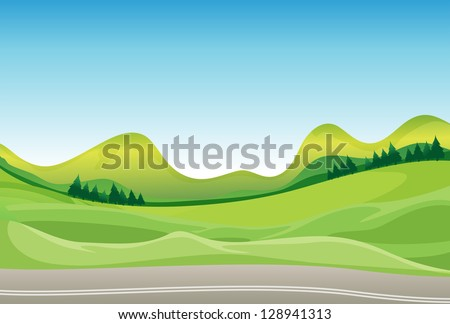 Illustration of a road and a beautiful landscape - stock photo