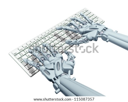 Illustration of a robotic computer operator typing - stock photo