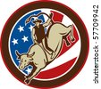 illustration of a Rodeo cowboy bull riding with stars and stripes in the background - stock photo