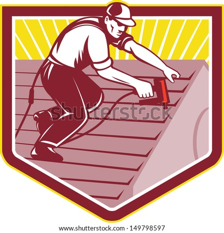 Illustration of a roofer construction worker roofing working on house roof with nail gun nailgun nailer done in retro style. - stock photo