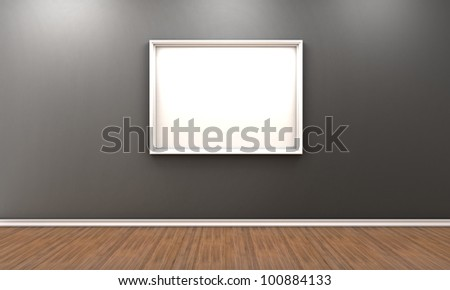 Illustration of a room with a white frame for a picture - stock photo