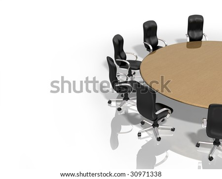 Illustration of a round table surrounded by chairs - stock photo