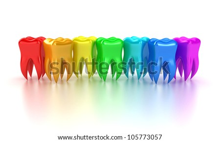 Illustration of a row multicoloured teeth on a white background - stock photo
