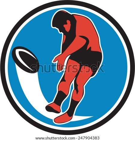 Illustration of a rugby player kicking ball front view set inside circle on isolated background done in retro style. - stock photo