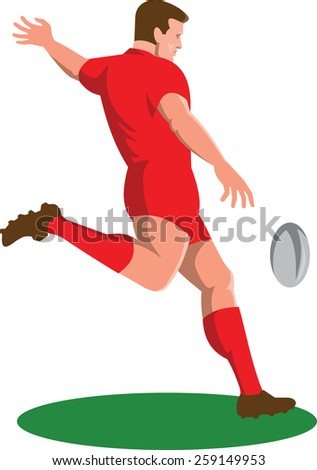Illustration of a rugby player kicking ball viewed from side done in retro style set on isolated white background.  - stock photo