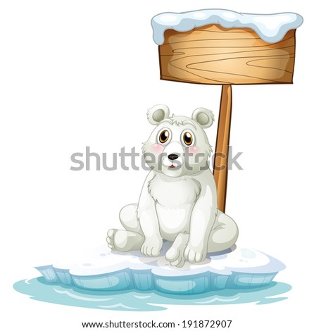 Illustration of a sad bear above the iceberg with an empty signboard on a white background - stock photo