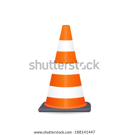 Illustration of a safety cone isolated on a white background. - stock photo