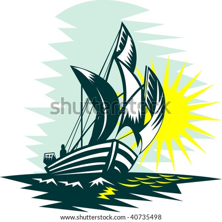illustration of a sailboat sailing on high seas with sun - stock photo