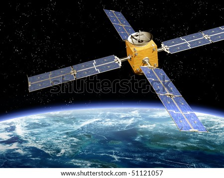 Illustration of a satellite orbiting the earth - stock photo