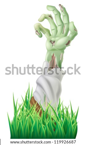 Illustration of a scary decaying zombie arm reaching out of the ground - stock photo