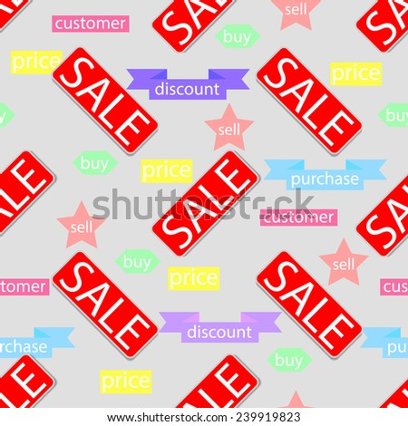 Illustration of a seamless texture with inscriptions sale. - stock photo