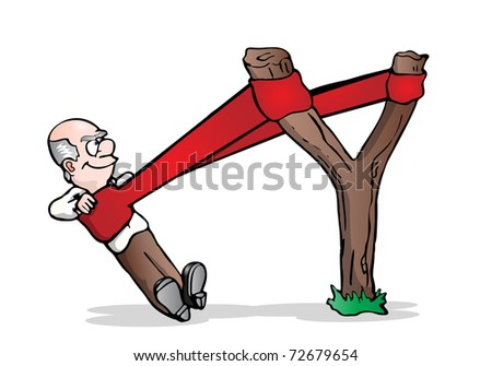 illustration of a senior businessman in a slingshot ready to launch isolated on white background - stock photo