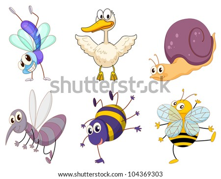 Illustration of a set of cute animals - EPS VECTOR format also available in my portfolio. - stock photo