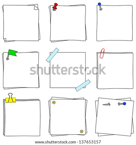 illustration of a set of several note papers - stock photo