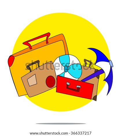 Illustration of a set of suitcases with yellow circle background - stock photo