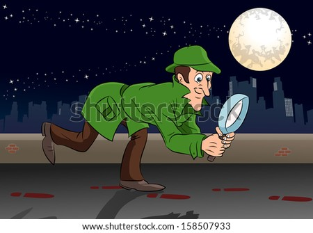 illustration of a sherlock holmes detective search something in night - stock photo