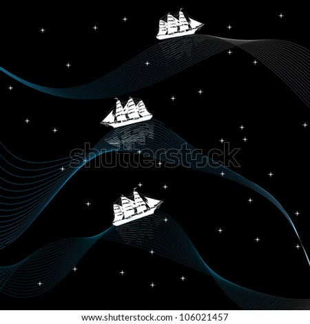 Illustration of a ship on wavy waters at night - stock photo