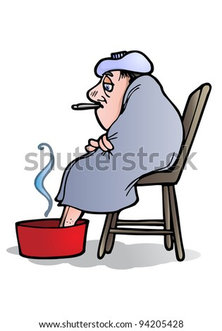illustration of a sick man having fever on isolated white background - stock photo