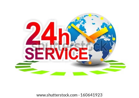 illustration of a sign for 24 hour worldwide service - stock photo