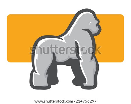 Illustration of a silverback Gorilla in Side View - stock photo