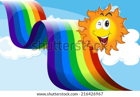 Illustration of a sky with a rainbow and a happy sun - stock photo