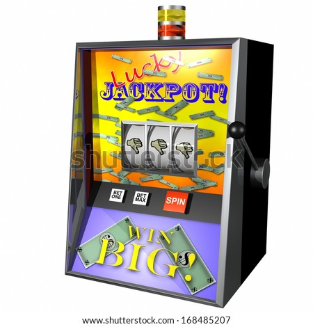 Illustration of a Slot Machine displaying Thumbs down loser on white - stock photo