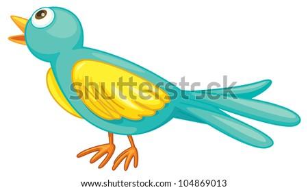 Illustration of a small green bird - - stock photo