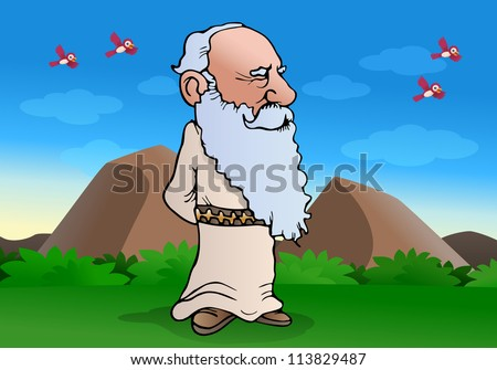 illustration of a smart experienced wise Old man doing muse on nature background - stock photo
