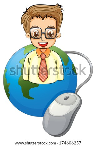 Illustration of a smiling young businessman above the globe with a computer mouse on a white background - stock photo