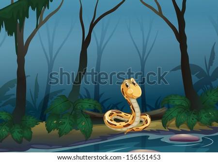 Illustration of a snake near the pond - stock photo