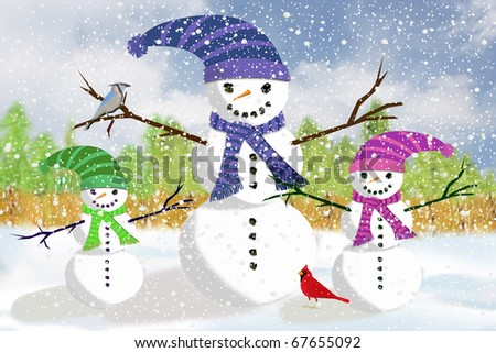 Illustration of a Snowman Father Play Out in the Snow with his daughter and son snow children. - stock photo