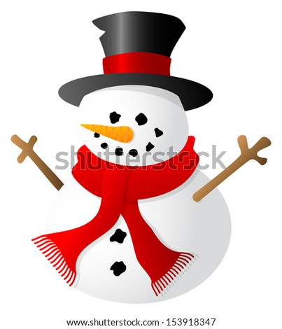 illustration of a snowman isolated on white background - stock photo