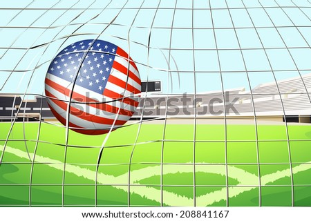 Illustration of a soccer ball with the US flag - stock photo
