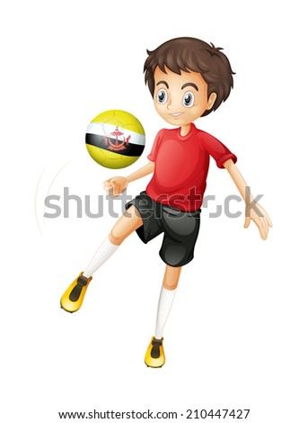 Illustration of a soccer player playing with the ball from Brunei on a white background - stock photo