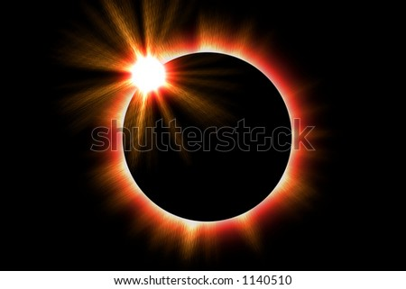 Illustration of a solar eclipse of the sun - stock photo