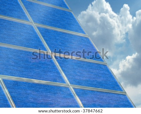 Illustration of a solar panel array on a cloudy day - stock photo