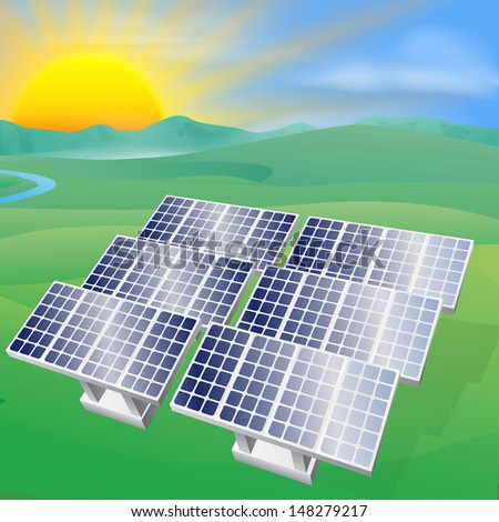 Illustration of a solar panel photovoltaic cells generating power and electricity  - stock photo